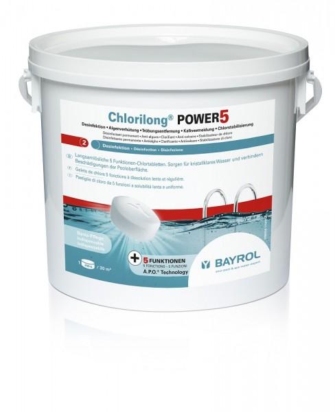 BAYROL Chlorilong Power 5, 5-Funktionen-Chlortabletten, 5 kg Eimer