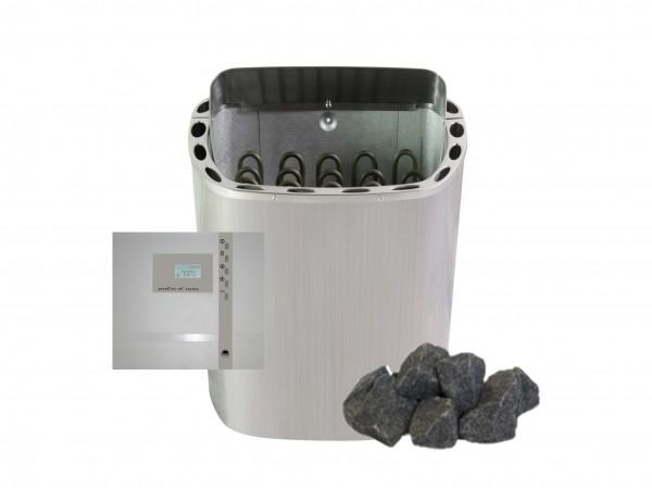 Sauna-Set Ofen 6 KW, Saunasteuerung, Steine + Gratiszugabe