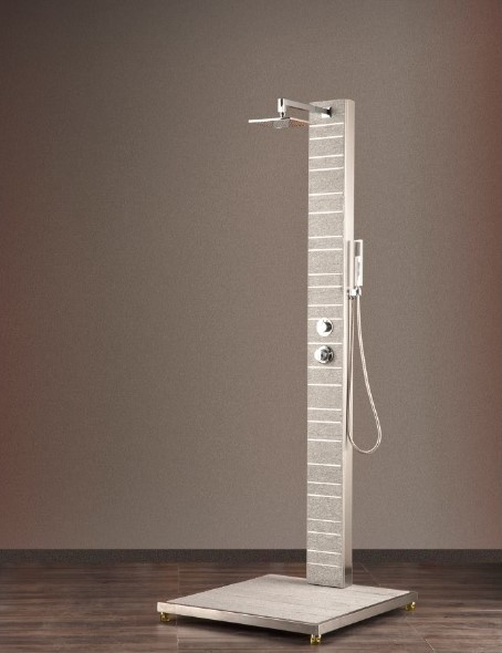 Ideal Kalt- & Warmwasserdusche - Argon Granitdusche (Duke white), inklusive Bodenplatte - Nr.: 70 65