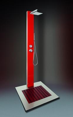 Future Pool Kalt- & Warmwasserdusche - Saba WPC (rot), inklusive Bodenplatte - Nr.: A 50136