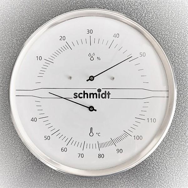 Schmidt Lifestyle Sauna Thermo-Hygrometer - 160mm - Edelstahl, weiß