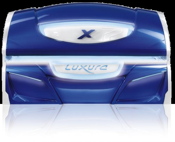 Hapro Profisolarium Luxura X7 mit GB Crystal White / Urban Blue / Havana Orange