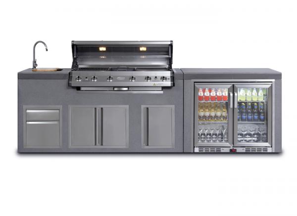 Everdure NEO:Outdoorküche 6-Brenner Doppelkühlschrank Waschbecken Schränke